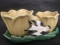 Vintage McCoy Pottery Double Planter Cache Pot Yellow Tulips Swallow Bird