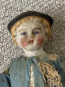 "Genuine Porcelain China Silk Doll 5"" Circa 1830 Vintage Very Rare embroidery"