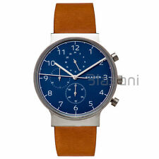 Skagen Original SKW6358 Mens Ancher Blue Dial Brown Leather Watch 40mm Chrono