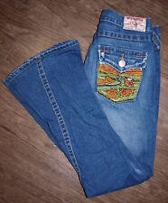True Religion Joey Womens Size 26 Low Rise Flared Jeans with Embroidered Pocket