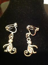 Clip on earring  with monkey charms silver plated