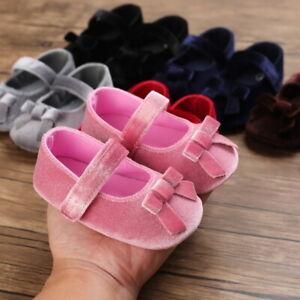 Newborn Baby Girl Pram Shoes Infant Velvet Dress Shoes Toddler PreWalker Trainer