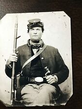 Civil War Military Soldier With Rifle & Sword tintype C203RP