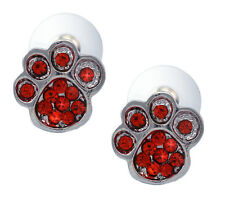 Doggy Dog Puppy Pet Bear Animal Paw Stud Post Earrings Red Crystal Jewelry