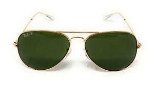 RAY BAN RB3025 58/14 AVIATOR Sunglasses POLARIZED CLASSIC G-15 Lens, GOLD Frame
