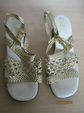 vintage sandals gold size 8 disco 60s 70s drag queen party