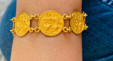 24k Solid Yellow Gold Flower Coin Bracelet 30.20GM6.6 Inches (2429$)