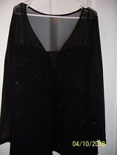 City Chic BLACK Top SHEER LONG SLEEVES SIZE M /18