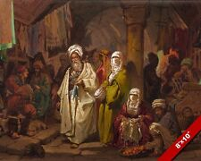 THE GRAND BAZAAR ISTANBUL TURKEY SCENE PAINTING A PREZIOSI ART REAL CANVAS PRINT