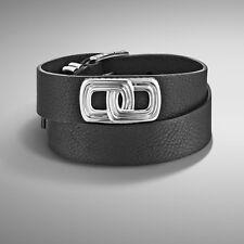 $450 NWT John Hardy sz M Bedeg Silver Leather Double Wrap Bracelet Men 's Gift