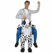 Adult Big Ride Farmer Piggyback Cow Bull Fancy Dress Costume Suit with Mock Legs