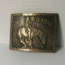 Buckle Solid Brass Award Design Usa Vintage End of the Trail Belt