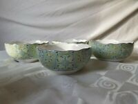 Lyria Teal Cereal Bowl 222 Fifth Set 4 Scalloped Rim Blue Green Paisley White