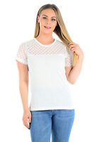 Womens Ladies White Lace Short Sleeve Top - ex Dorothy Perkins T Shirt 10-16