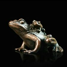 Small Frog with Baby Solid Bronze Foundry Cast Sculpture Keith Sherwin [932]