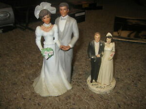 Lot of 2 vintage wedding cake toppers 1947 and 1988