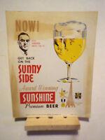 "Sunshine Premium Beer Advertisement Posterboard. Rare ""Alex Bombinski"" Picture."