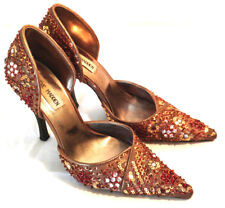 Steve Madden Heels Shoes Womens Sz 7 Beige Taupe Satin Beaded Red Gold Formal
