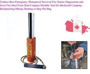 Trekker Best Emergency Waterproof Survival Fire Starter Magnesium and Euro Fi...