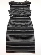 Fenn Wright Manson Grey Black Striped Pencil Dress Size L 14-16 Work Shift