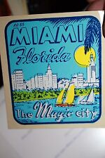 Vintage Florida Miami Magic City 1960's auto transfer suitcase decal