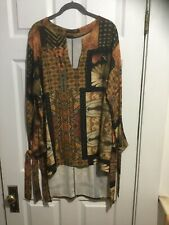 Paola Ermini Firenze Multicolor Tunic, Size M, Made In Italy, High/low, NWOT