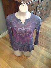 KIARA Bling/Embellished Blue/Purple Floral LS V-Neck Top Shirt Small
