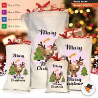Personalised Girl Reindeer Christmas Xmas Santa Sack Gift Bag Stocking