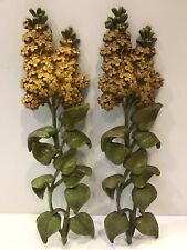 Mid Century 1966 Plastic Floral Wall Decor - Avocado Green / Gold USA - Set of 2