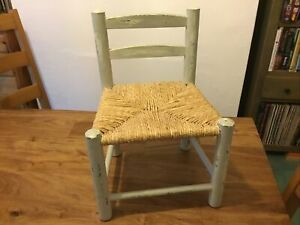 Childs  solid WOODEN  chair with woven  seat Teddy Bear /Doll Chair/ Shabby Chic