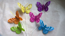 Feather Butterflies - Set of 6 - Bright Colours Glitter Design - 7cm Wingspan