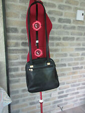 COSETTE Italy  Med Handbag Double Shoulder Straps Hobo Blk Leather Shoulder Bag