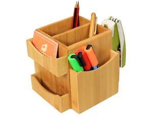 Bamboo Revolving Desk Organiser Tidy, Stationery Storage Box