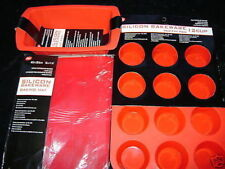 NEW SILICONE CAKE BAKING 3 SET MOULD LOAF MAT MUFFIN. RED