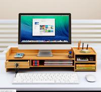 DIY Office Wood Desk Organizer Storage Computer Monitor Stand Riser Desktop Tray