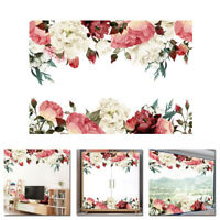 Removable Wall Sticker Peony Flowers Decal Art Mural Living Room Bed Home Decor
