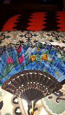 Vintage Style Floral Lace Hand Fan Fabric Cloth Mini Fan Pocket Folding Fans Us