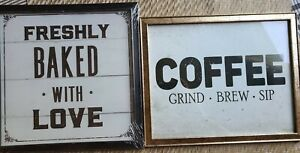 """Coffee Grind Brew Sip 10.5""""  x  9"""" Freshly Baked With Love 9"""" x 9"""" Set of 2"""
