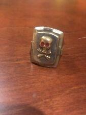 Vintage 1950s Mexican Biker Skull And Crossbones Ring Size 11 1/4