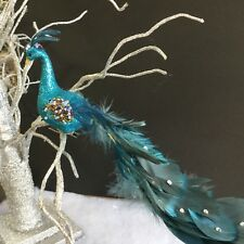 turquoise glitter clip on peacock christmas decoration feather bead vinatge tree