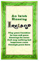 Irish Philosophy T-Towel With a Green Boarder With Gold Celtic Design