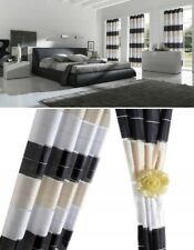 SALE!!! PAIR READY MADE CURTAINS STRIPED  Black Cream White VOILE EYELET RING