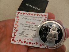 "Silver Shield - 2015 Love ""I Heart Variety"" Proof .999 Silver - Only 195 Minted"