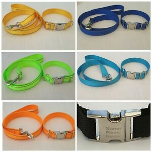 handmade reflective dog collar and leash set, personalised dog collar, dog lead