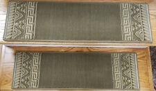 "Rug Depot 13 European Border Non Slip Carpet Stair Treads 30"" x 9"" Green Wool"
