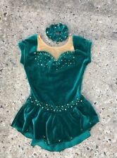 BATON TWIRL/DANCE COSTUME GREEN VELOUR SKIRT RHINESTONES NUDE LITTLE GIRLS 4/6