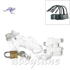 Medical Grade Poly-carbonate Cock cage Male Chastity Device Clear 5 Size Rings