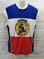 Kinelogear Dri Fit Cycling Bike Jersey 1/2 Zip TexasMan Triathlon Blue Red  L