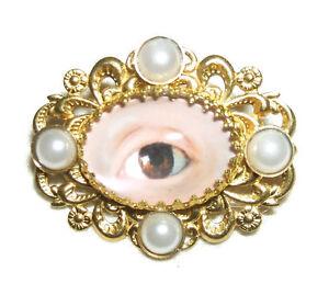 LOVERS EYE BROOCH PIN Victorian Sentimental Jewelry Gold Pltd