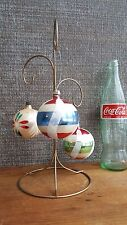 1940s Lot 3! Polish Hand Painted Glass Christmas Ornaments, Red & Green!